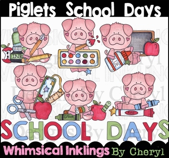 Piglets School Days Clipart Collection