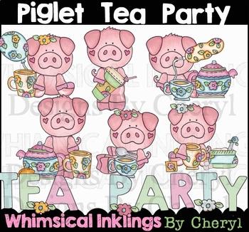 Piglets Tea Party Clipart Collection
