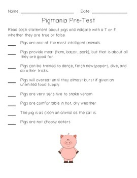 Pigs! Acitivities For Grades 1 to 4