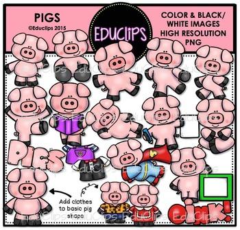 Pigs Clip Art Bundle {Educlips Clipart}
