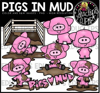 Pigs In Mud Clip Art Bundle {Educlips Clipart}