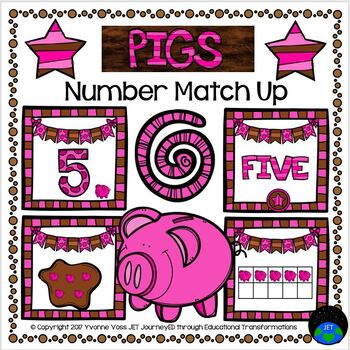 Pigs Number Match Up Math Center