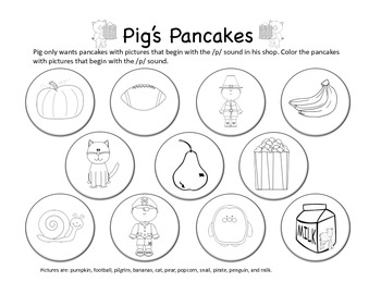 Pig's Pancakes - Letter P Beginning Sound Sort