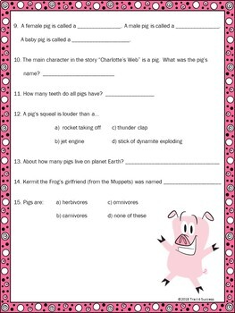 "Pigs Webquest - Fun ""Purely Pigs"" Reading Internet Search Activity"