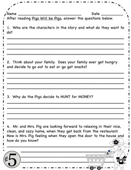 Pigs Will be Pigs- Fun with Math Packet