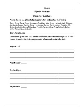 Pigs in Heaven Character Analysis Activity - Barbara Kingsolver
