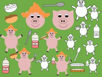 Pigs in Wigs Clip Art