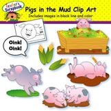 Pigs in the Mud Clip Art