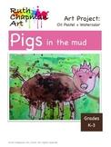Pigs in the Mud in Watercolor + Oil Pastel