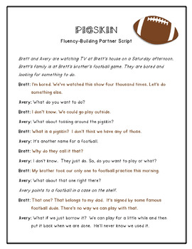 Pigskin: Fluency-Building Partner Script