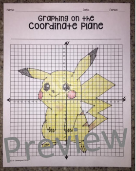 pikachu graphing on the coordinate plane mystery picture by