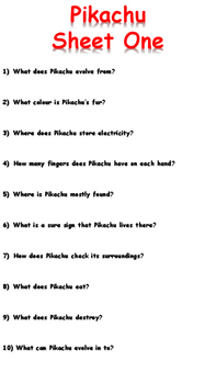 Pikachu Reading Comprehension