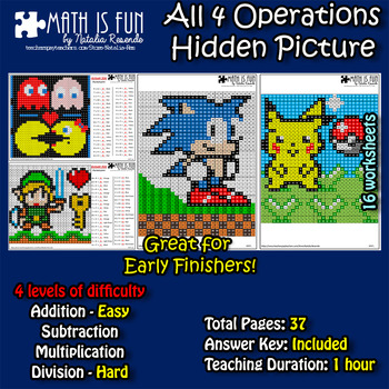 Pikachu Zelda Sonic Pac-Man Mystery Picture - 4 operations - 4 level difficult