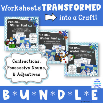 Pile on the Winter Fun! Sets 1, 2 & 3 ~ Snowman and snowball literacy crafts