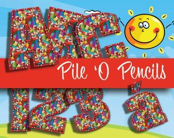 """Piles 'O Pretty Pencils Alphabet -  200 DPI - PDF/ PNGs - 4.5"""" High - Vector"""