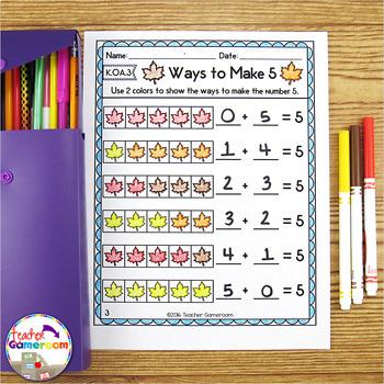 Ways to Make Number Fall Worksheets - K.OA.3