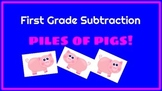 Piles of Pigs Subtraction under 10  Grade 1 Printables Common Core