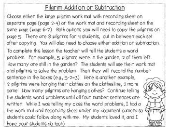 Pilgrim Addition and Subtraction FREEBIE