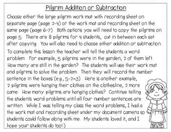 Pilgrim Addition and Subtraction FREEBIE