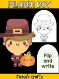 Pilgrim Boy and Pumpkin - Jackie's Crafts Activity, Writing, Thanksgiving