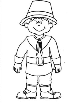 Pilgrim Boy Printable Coloring Sheet by Saved by Grace | TpT