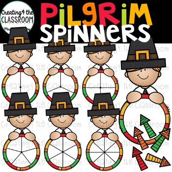 Pilgrim Boy Spinners Clip Art {Thanksgiving Clip Art}