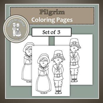 Pilgrim Boy and Girl Printable Coloring Sheets - Set of 3