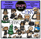 Pilgrim Children - Chores Clip Art Bundle {Educlips Clipart}