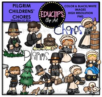Pilgrim Children - Chores Clip Art Bundle {Educlips Clipart}
