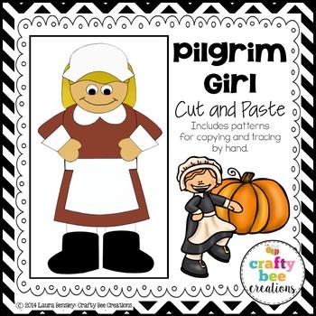Pilgrim Girl Cut and Paste
