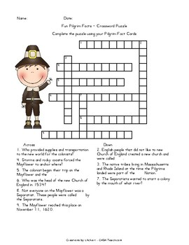 Pilgrim Fact Cards PLUS a Crossword Puzzle