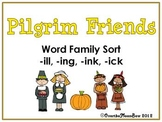 Pilgrim Friends –ill – ing – ink – ick  Word Family Sort Game