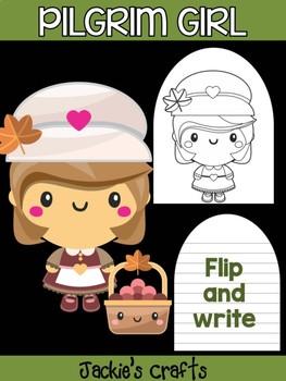 Pilgrim Girl and Basket - Jackie's Crafts Activity, Writing, Thanksgiving