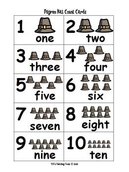 Pilgrim Hat Count Cards
