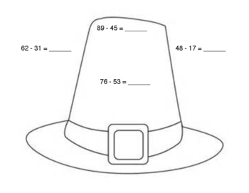 Pilgrim Hat Double Digit Subtraction Sheet