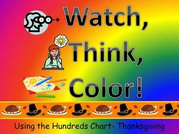 Pilgrim Hat Hundreds Chart Fun - Watch, Think, Color!