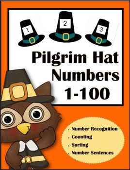 Pilgrim Hat Number Cards (1-100)