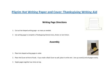 Shaped Writing Page and Cover (Pilgrim Hat): Thanksgiving Writing Aid