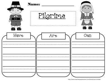 Pilgrim Have/Are/Can Graphic Organizer