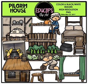Pilgrim House Clip Art Bundle {Educlips Clipart}