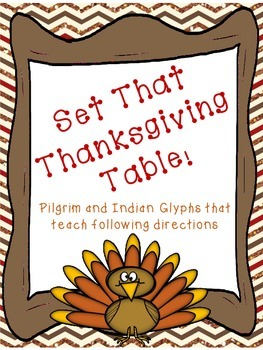 Pilgrim, Indian, and the Thanksgiving Table Glyphs