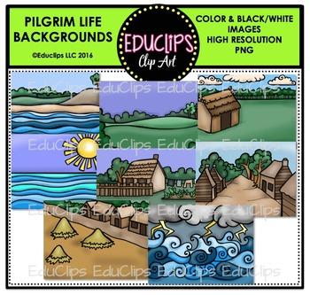 Pilgrim Life Backgrounds Clip Art Bundle {Educlips Clipart}