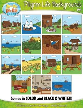 Pilgrim Life Background Scenes Clipart {Zip-A-Dee-Doo-Dah Designs}