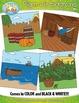 Pilgrim Life Themed Background Scenes Clip Art Set — Inclu