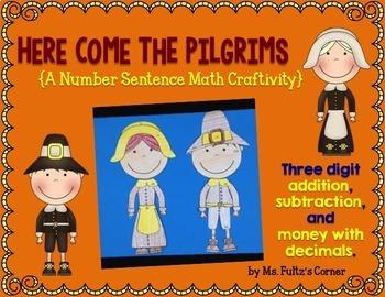 Pilgrim Math Craftivity: Addition and Subtraction Number Sentences