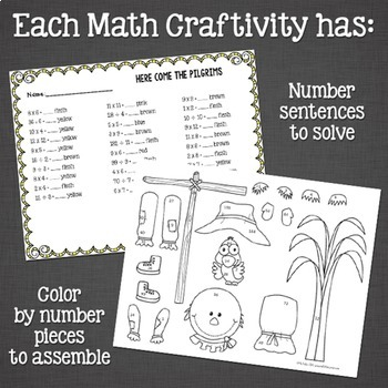 Pilgrim Math Craftivity: Addition and Subtraction Number Sentences