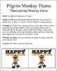 Pilgrim Monkey Themed - Thanksgiving Memory / Concentration Game