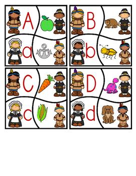 Pilgrim & Pals Thanksgiving Fall Beginning Sounds Puzzle Cards  Phonics