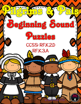 Pilgrim & Pals Thanksgiving Fall Beginning Sounds Puzzle C