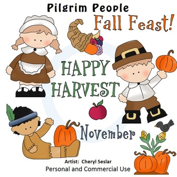 Pilgrim People Color Clip Art C. Seslar native american apple cornucopia
